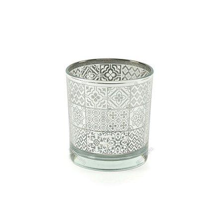 Castiçal de Vidro Estampado Mosaico Prata