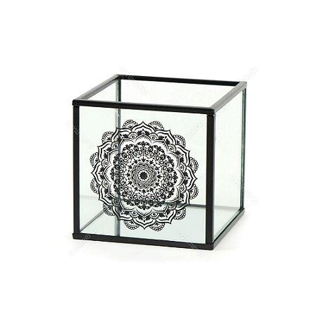 Caixa Decorativa de Vidro Mandala Preta
