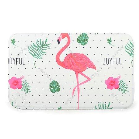 Tapete Poliéster Macio Flamingo Branco