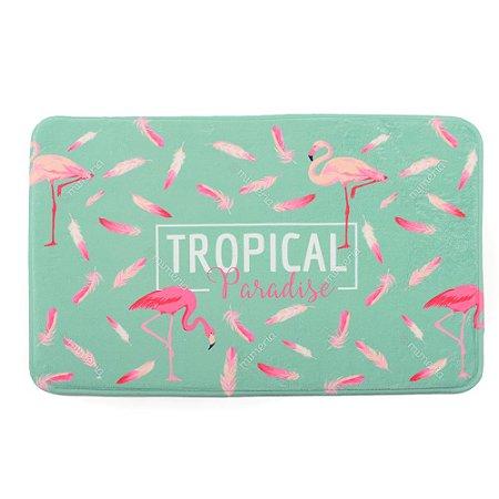 Tapete Poliéster Macio Flamingo Verde