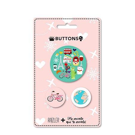 Kit Buttons Viagens
