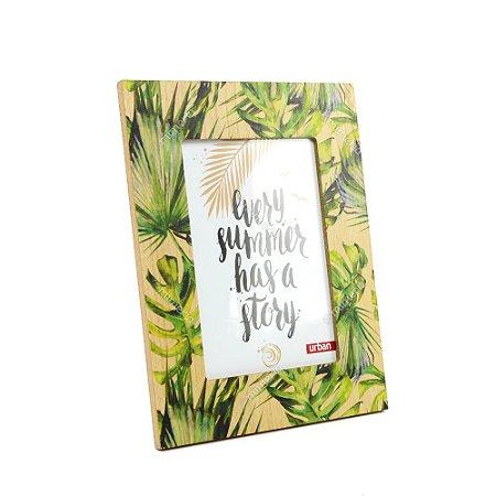 Porta Retrato de Madeira Folhas Verde