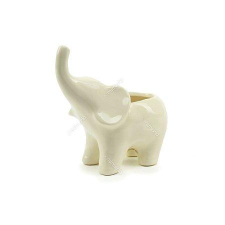 Cachepô em Cerâmica Elefante Branco