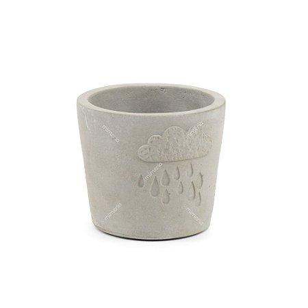 Vaso de Cerâmica Rústico Chuva Cinza Pequeno