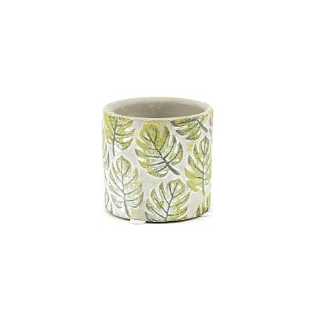 Vaso de Cerâmica Rústico Folhas Cinza Pequeno