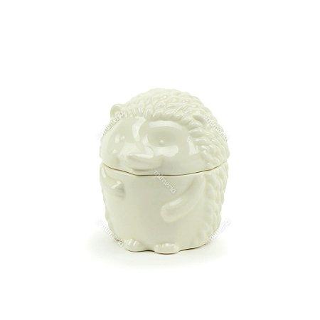 Pote de Cerâmica com Tampa Porco Espinho Branco