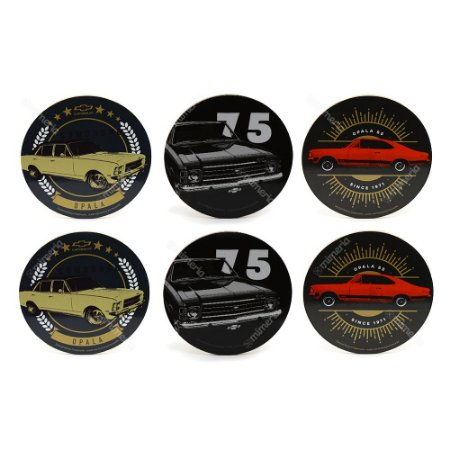 Conjunto 6 Porta Copos Opala Chevrolet Redondo