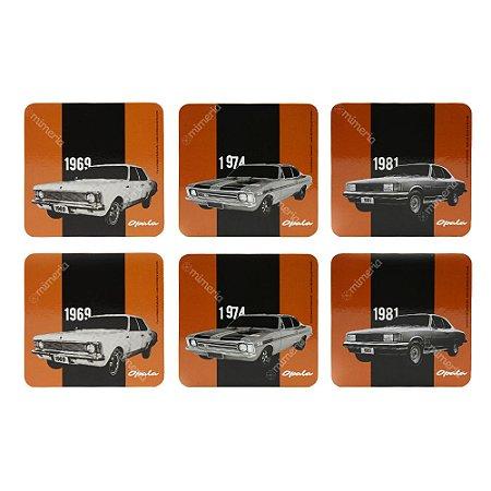 Conjunto 6 Porta Copos Opala Chevrolet Quadrado