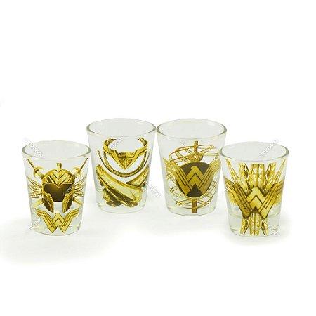 Kit 4 Copos Dose de Vidro Mulher Maravilha Dourado