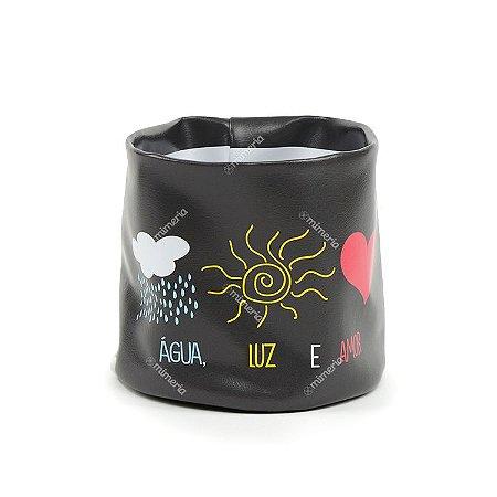 Cachepô de PVC Estampado Água, Luz e Amor Grande