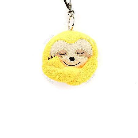Chaveiro Pelúcia Bicho-Preguiça Amarelo