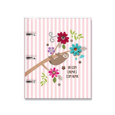 Caderno Argolado Fichário Bicho-Preguiça