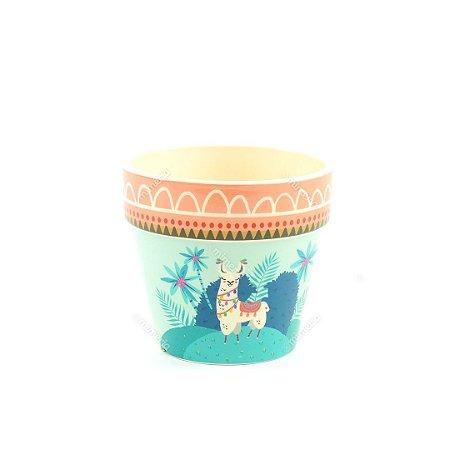 Vaso de Cerâmica Lhama Colorido Grande