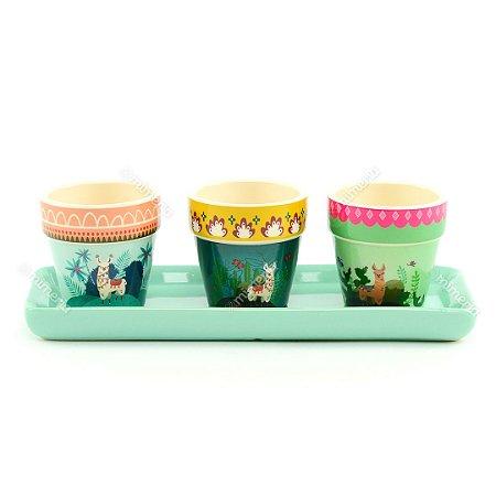 Kit Vasos de Cerâmica Lhama Coloridos Pequenos