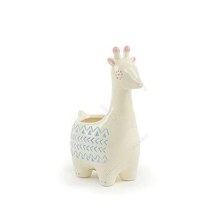 Cachepô de Cerâmica Girafa Branca Grande