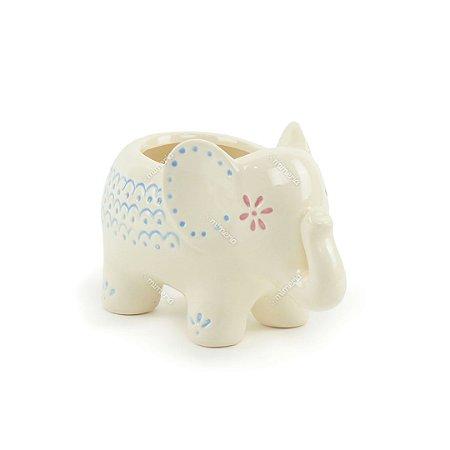 Cachepô de Cerâmica Elefante Branco Grande