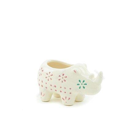 Mini Cachepô de Cerâmica Rinoceronte Branco