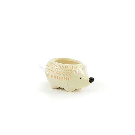 Mini Cachepô de Cerâmica Ouriço Branco