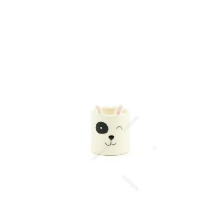 Mini Cachepô de Cerâmica Cachorro Branco