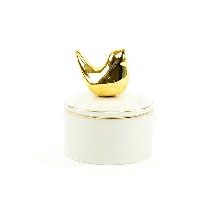 Mini Caixa de Cerâmica Redonda Pássaro Dourado e Branco