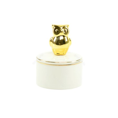 Mini Caixa de Cerâmica Redonda Coruja Dourada e Branca