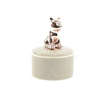 Mini Caixa de Cerâmica Redonda Cachorro Rose Gold e Cinza