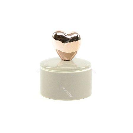 Mini Caixa de Cerâmica Redonda Coração Rose Gold e Cinza