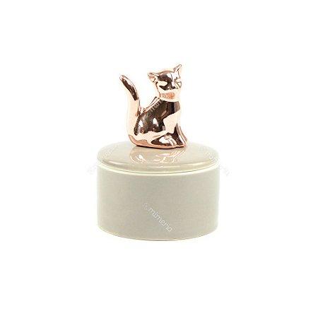 Mini Caixa de Cerâmica Redonda Gato Rose Gold e Cinza