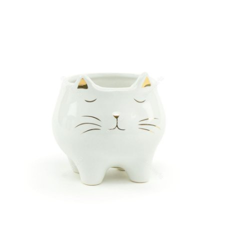 Cachepô de Cerâmica Gato Branco e Dourado