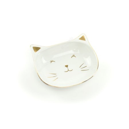 Prato de Cerâmica Gato Branco e Dourado Médio