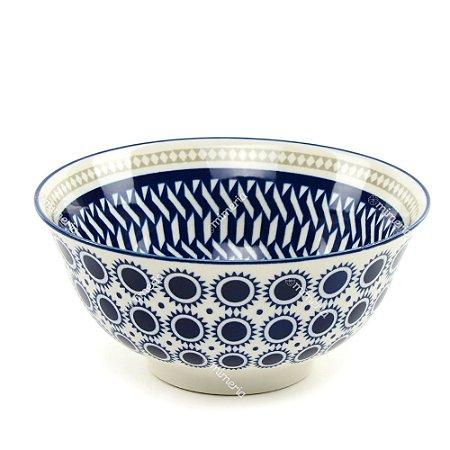 Bowl de Cerâmica Geométrico Azul Grande