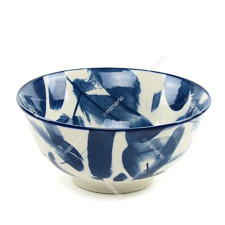 Bowl de Cerâmica Penas Azul e Branco Grande