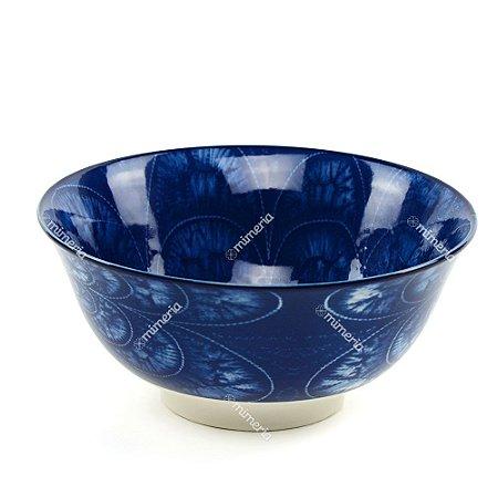 Bowl de Cerâmica Floral Azul Escuro Grande