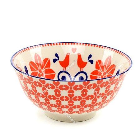 Bowl de Cerâmica Floral Vermeho e Azul Grande