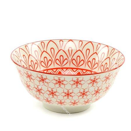 Bowl de Cerâmica Mosaico Floral Vermelho Grande