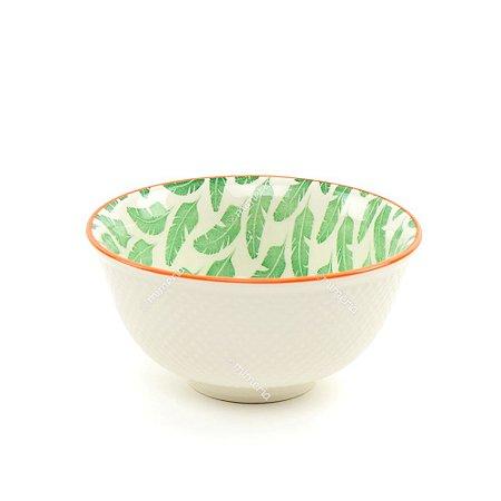 Bowl de Cerâmica Folhas de Bananeira Verde Pequeno
