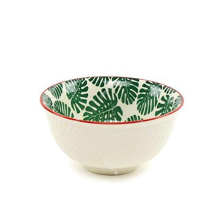 Bowl de Cerâmica Folhas Costela de Adão Verde Escuro Pequeno