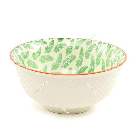Bowl de Cerâmica Folhas de Bananeira Verde Grande