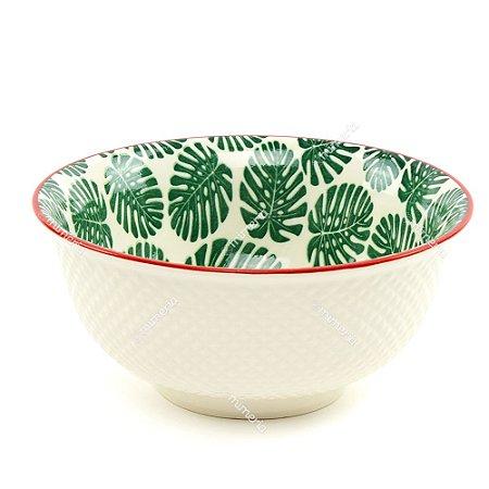 Bowl de Cerâmica Folhas Costela de Adão Verde Escuro Grande