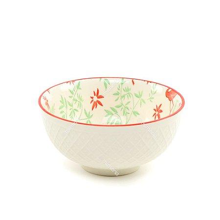 Bowl de Cerâmica Flamingos e Folhas Vermelho e Verde Pequeno