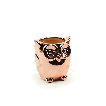 Cachepô de Cerâmica Coruja Rose Gold