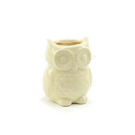 Cachepô de Cerâmica Coruja Branca Pequena