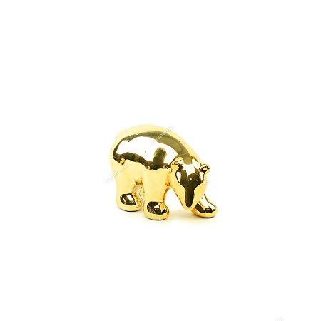 Urso Polar Decorativo em Cerâmica Dourado Pequeno