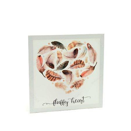 Quadro em Canvas Penas Fluffy Heart