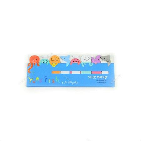 Marcador de Página Autoadesivo Animais Marinhos Azul Escuro