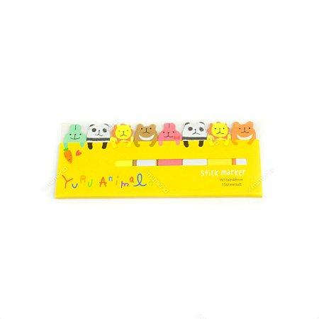 Marcador de Página Autoadesivo Animais Floresta Amarelo