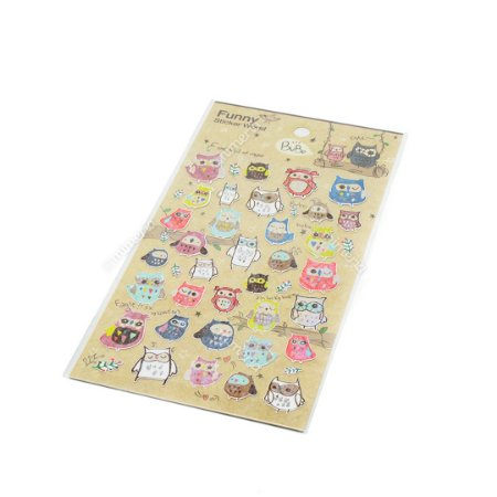Cartela de Adesivos Stickers Corujas