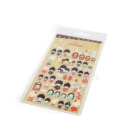 Cartela de Adesivos Stickers Gueixas