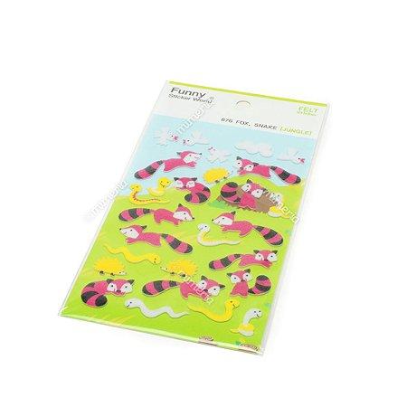 Cartela de Adesivos Stickers Raposas em Alto Relevo