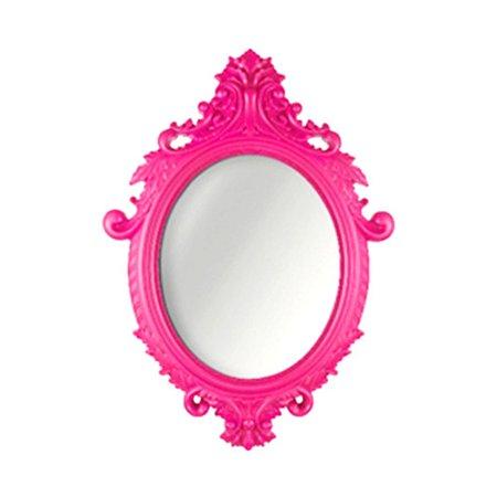 Espelho Vintage Oval Rococó Rosa 38x55